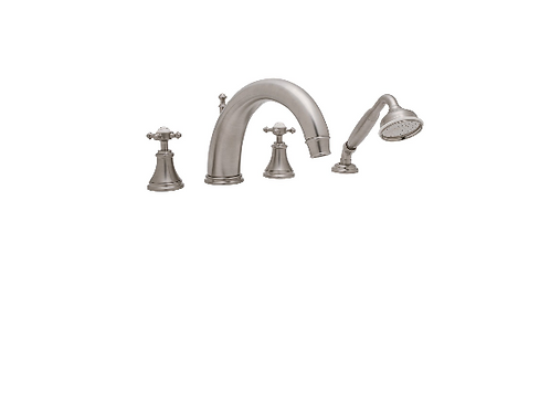 Perrin & Rowe Georgian Four-Hole Bath Set with Crosstop Handles and 255mm Spout