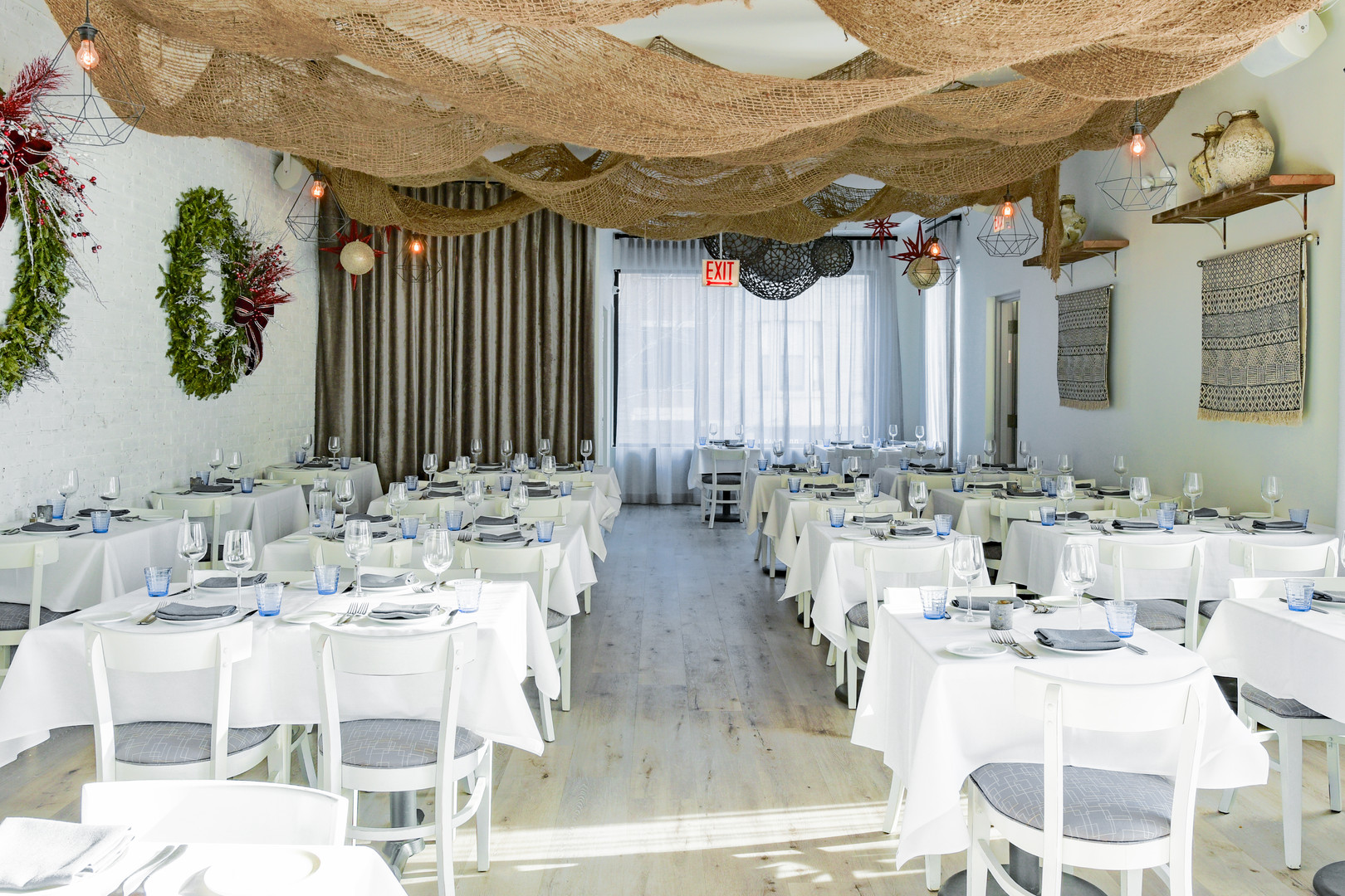 Project: Avli River North Restaurant Interior Design: Gold Coast Design Studio Photo Courtesy of: Stan Estate Photography  Custom linen curtains for restaurant