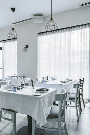 Project: Avli River North Restaurant Interior Design: Gold Coast Design Studio Photo Courtesy of: Stan Estate Photography  white custom curtains