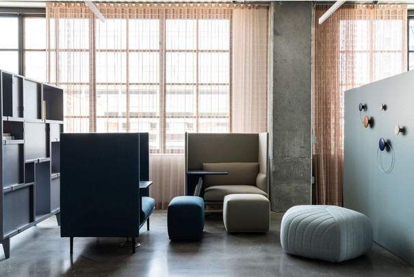 Project: Knoll Chicago Fulton Market Interior Design: Gensler Photo Courtesy of: Knoll  custom made sheer curtains