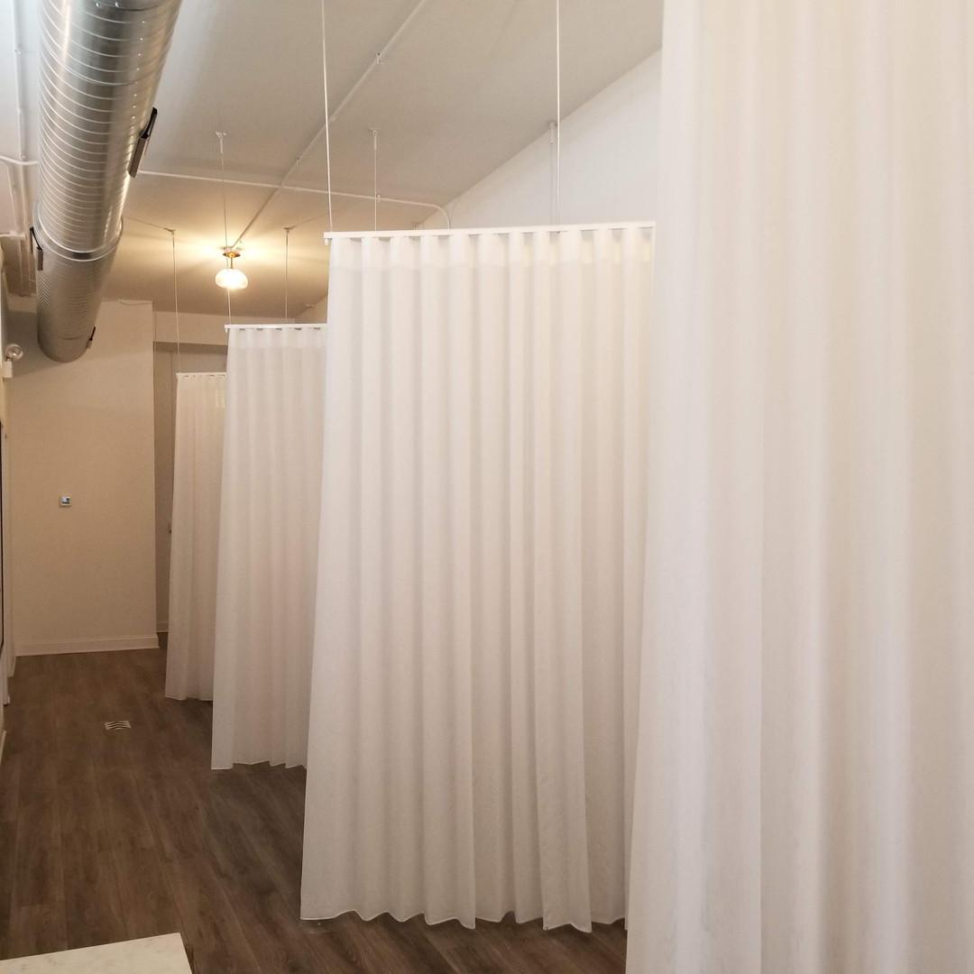 Project: Wax & Skin Lounge  custom made sheer curtains