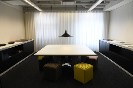 Project: Knoll Chicago Showroom Merchandise Mart Photo Courtesy of: Knoll  ready white curtains for the office