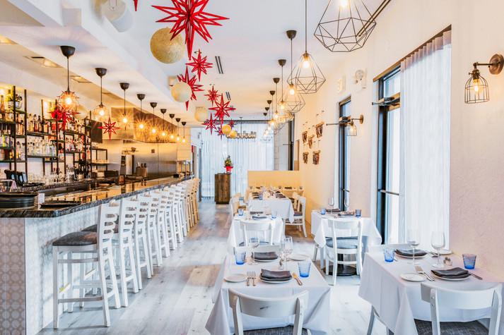 Project: Avli River North Restaurant Interior Design: Gold Coast Design Studio Photo Courtesy of: Stan Estate Photography  white custom curtains for cafe