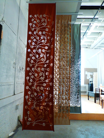 red custom curtains