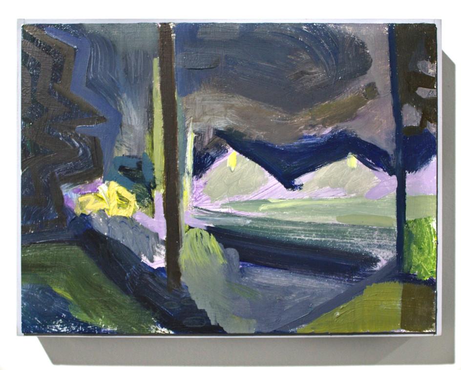 """'Distant Lights on Field', oil on aluminum, 12 x 9"""", 2019"""