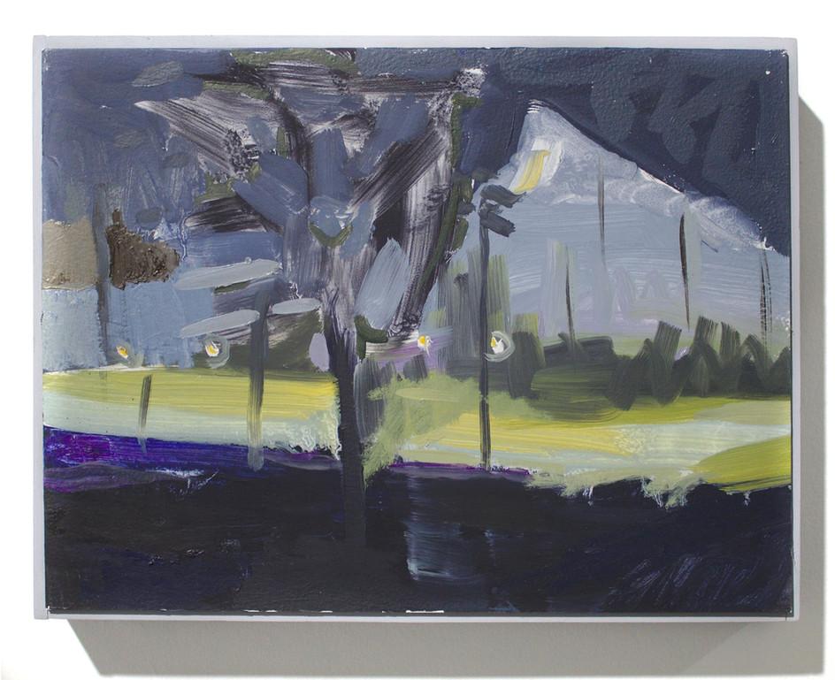 """'Drving Range I', oil on aluminum, 12 x 9"""", 2019"""