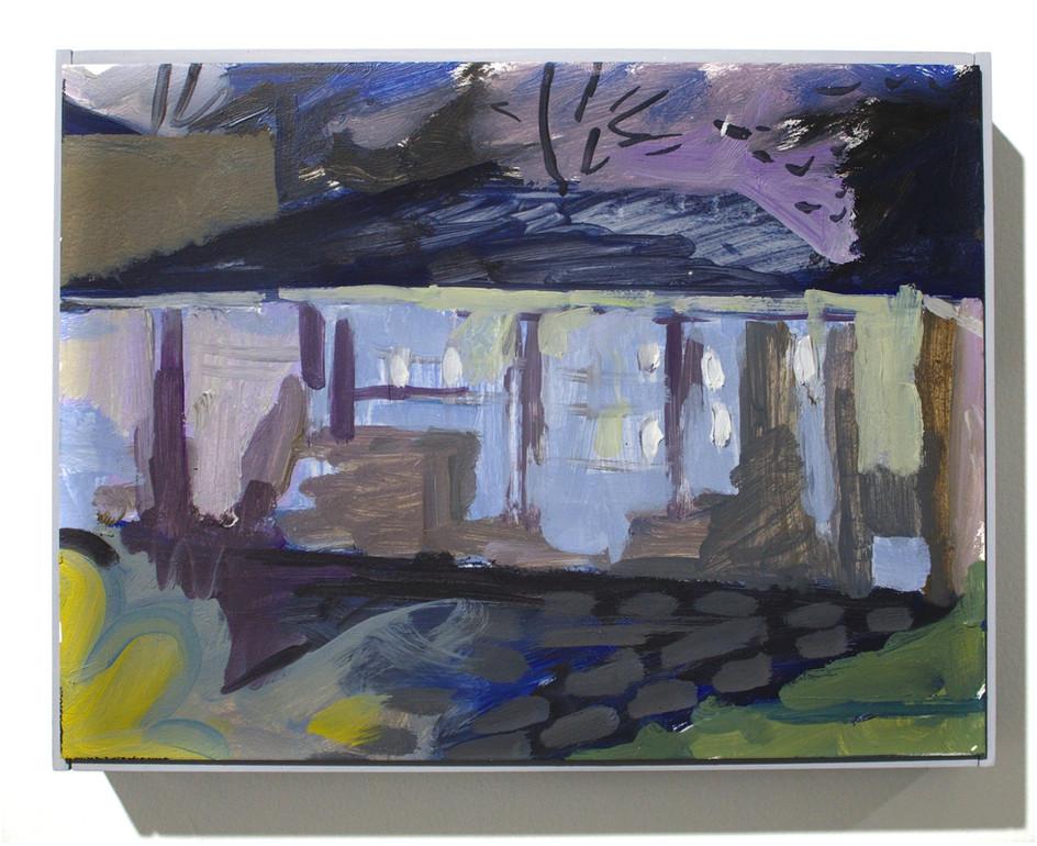"""'Garage', oil on aluminum, 12 x 9"""", 2019"""