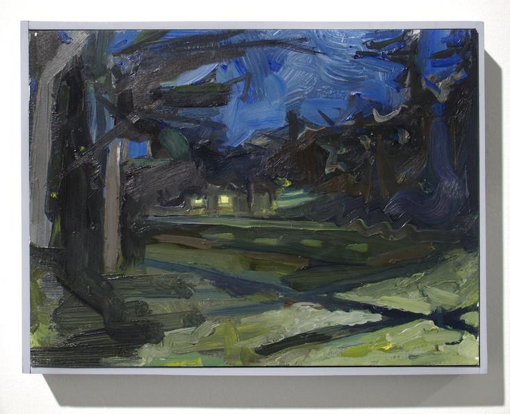 'Dark Park', oil on aluminum