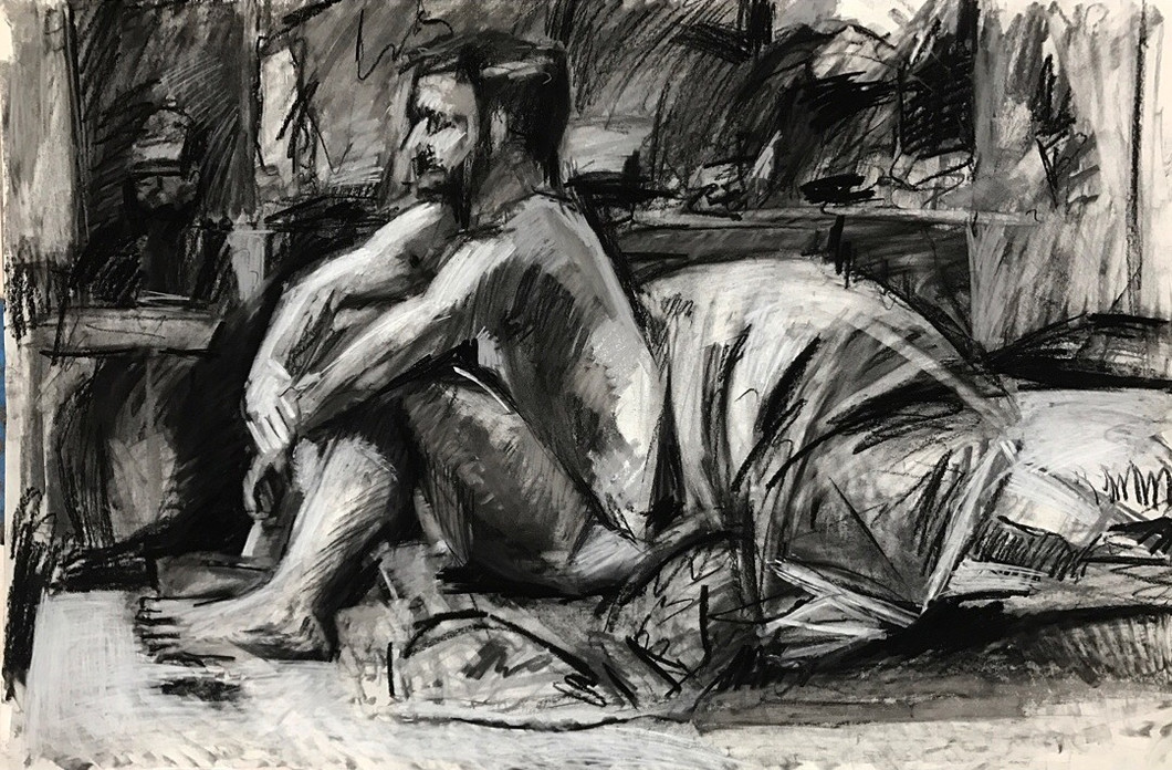 charcoal on paper 3' x 2'