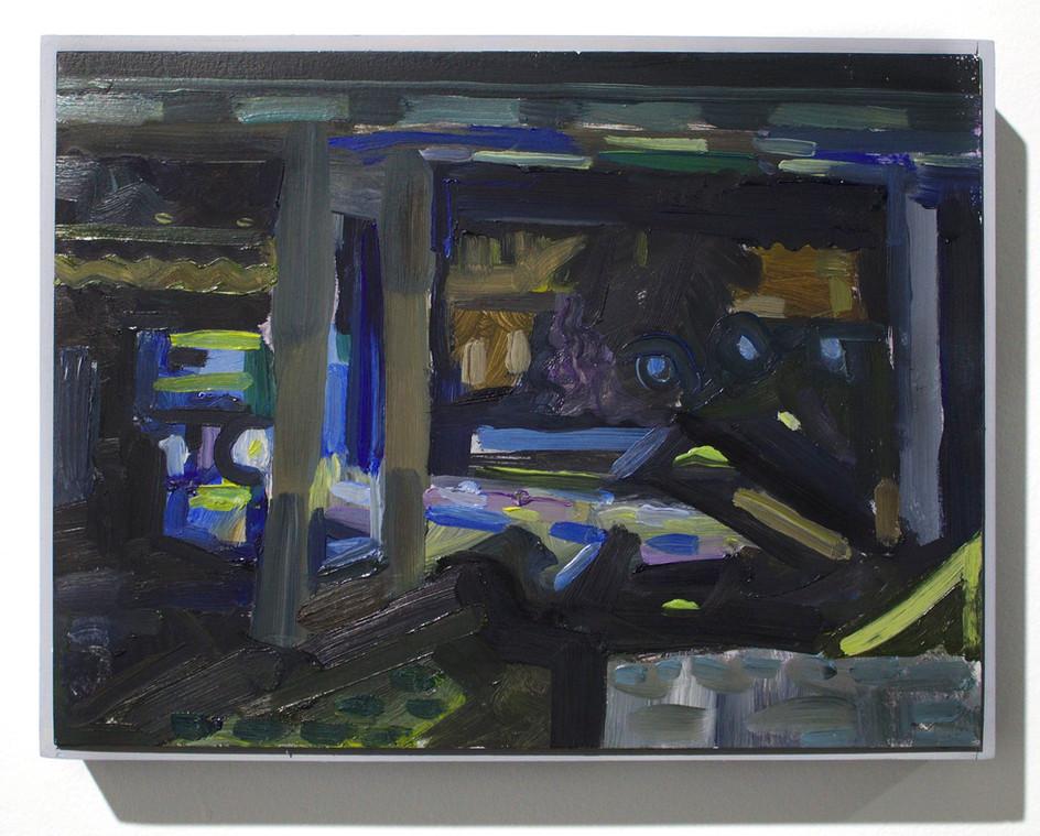 "'Nas Concert', oil on aluminum, 12 x 9"", 2019"