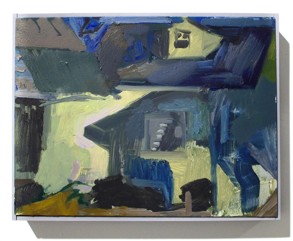 """'Neighboor's Home Front', oil on aluminum, 12 x 9"""", 2019"""