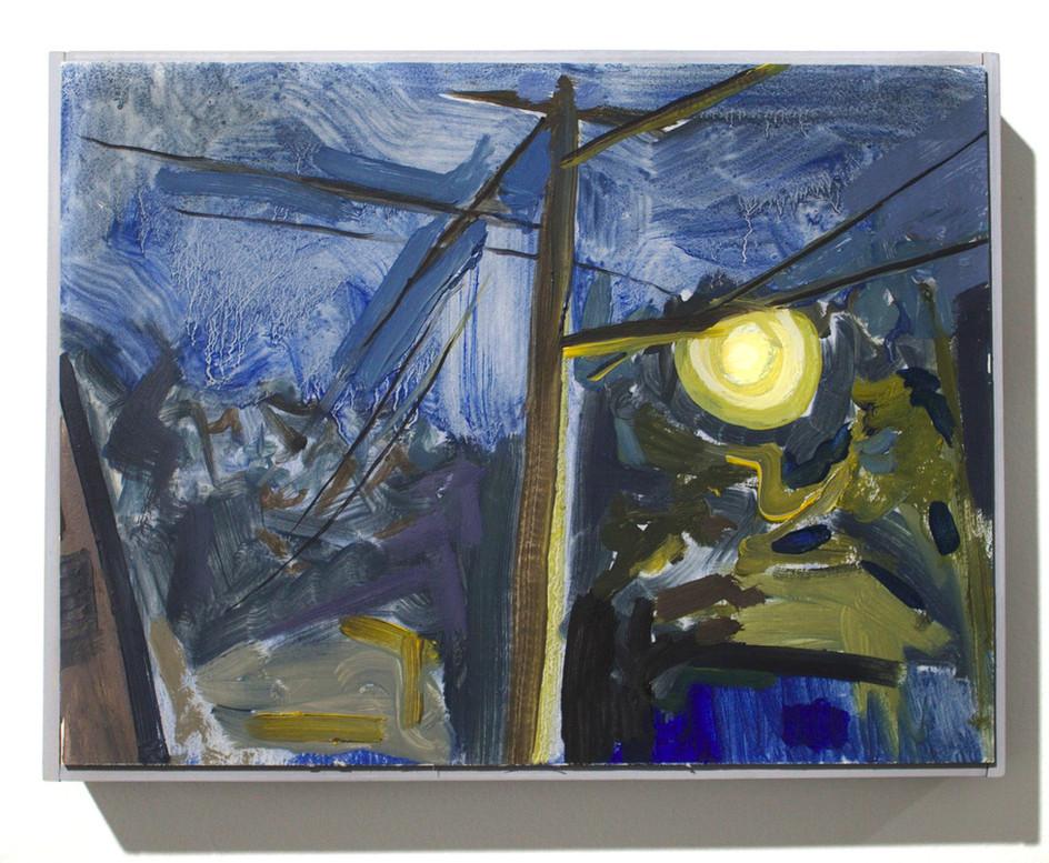 """'Street Light I', oil on aluminum, 12 x 9"""", 2019"""