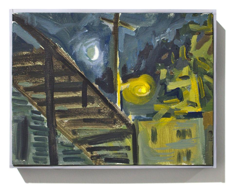 """'Stairs Street-Light Moon', oil on aluminum, 12 x 9"""", 2019"""
