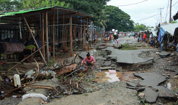 The road to the local market in Dili was