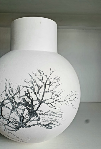 Naked Porcelain Globe with wild grass detail