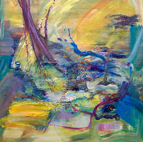 Air and water, good to be alive day, abstract painting by Roberta Tetzner, featuring in NoonPowell Summer Show 2020