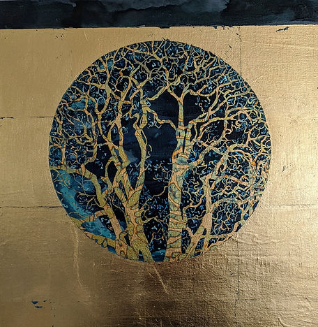 Midnight - Lorraine Thorne, mixed-media painting with gold leaf, featuring window to trees and forest, in NoonPowell Summer Show 2020