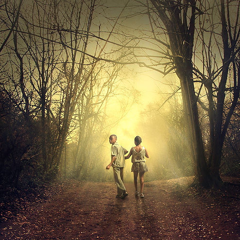 Photograph of two children in woods 'The Forest' by Cristina Ramos, featuring in NoonPowell Summer Show 2020