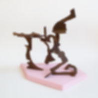Sculpture of welded corten steel on pink geometric jesmonite stand, titled 'Terufin' by Andrew Revell