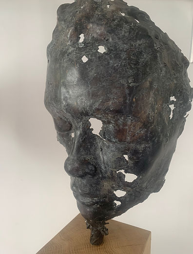 Mother's Gaze, bronze sculpture of face, by Simon Bacon, featuring in NoonPowell Summer Show 2020