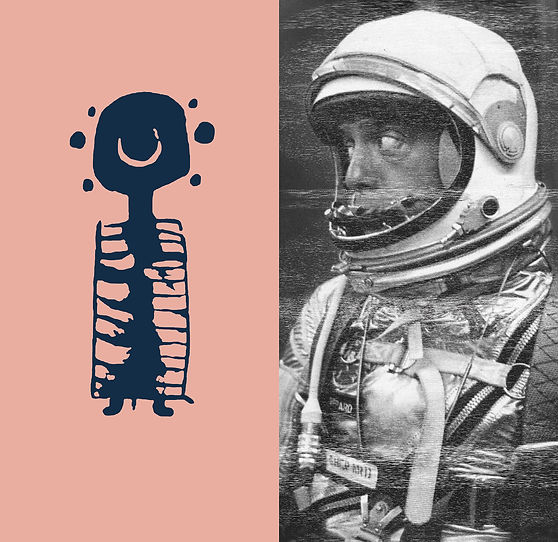 Gordon Ellis Brown's 'Untitled III' from his Space Series, photograph of spaceman and petroglyph on wood panels, featuring in NoonPowell Summer Show