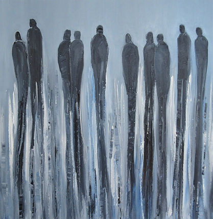 New Figures, oil on canvas painting, sihouette figures, featuring in NoonPowell Summer Show 2020