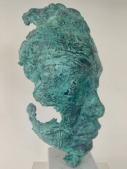 Bronze Sculpture of Face with green patination by Simon Bacon, featuring in NoonPowell Summer Show 2020