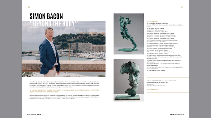 Simon Bacon article in 'Luxury Lifestyle