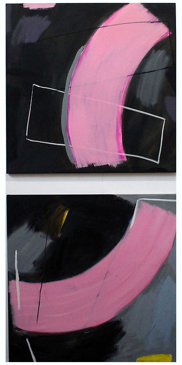 'Black - Jelly Bean' diptych' (89  x 89