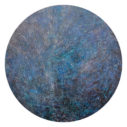 A World of Seas, round painting by Pandora Mond, featuring in NoonPowell Summer Show 2020