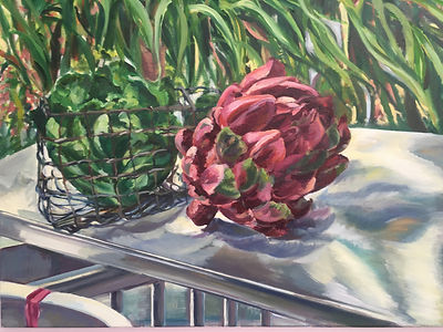 oil painting with artichoke on a metal table in a garden, titled 'Liberated Artichoke' by Dido Powell