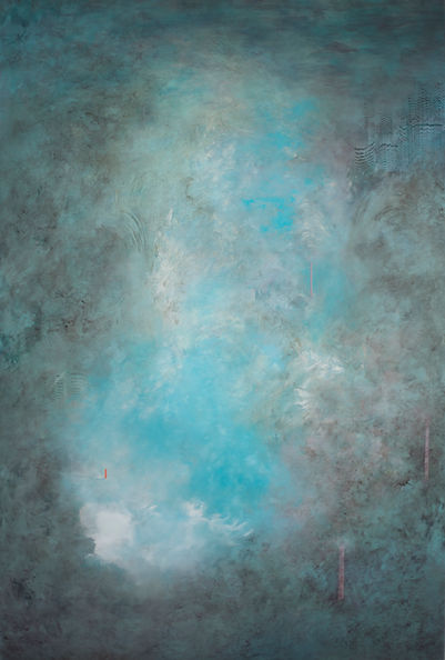 Oil painting on aluminium abstract painting by Suzi Morris featuring in NoonPowell Summer Show