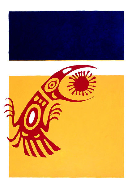 Sundance II, by Gordon Ellis-Brown, bird petroglyph on yellow background, featuring in NoonPowell Summer Show 2020