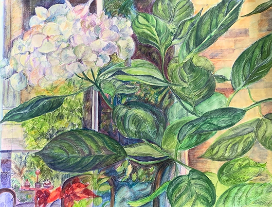 London Garden I, Dido Powell Watercolour painting, featuring in NoonPowell Summer Show 2020