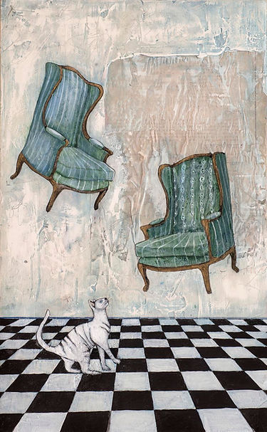 We are here so Lightly by Alexandra Eldridge, featuring cat and floating chairs, featuring in NoonPowell Summer Show 2020