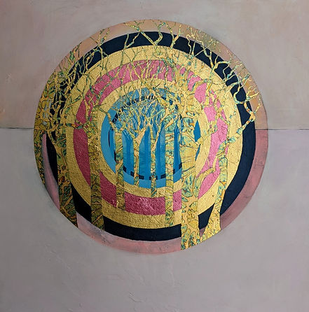 Circle of Life Pink, painting by Lorraine Thorne with pink circle and gold trees, featuring in NoonPowell Summer Show 2020