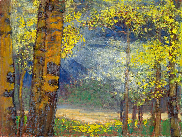 Landscape painting titled 'Ray of Light Through the Trees' oil on linen and featuring in NoonPowell Summer Show