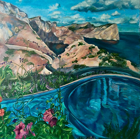 Merging Memories, Mallorca, oil on canvas landscape painting by Dido Powell, scenes of Majorca, featuring in NoonPowell Summer Show 2020