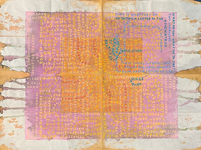 Concrete poetry on japanese paper by Peter Moore, featuring in NoonPowell Summer Show 2020