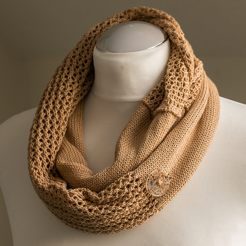 Sand Seashore Cotton Lace Infinity Scarf