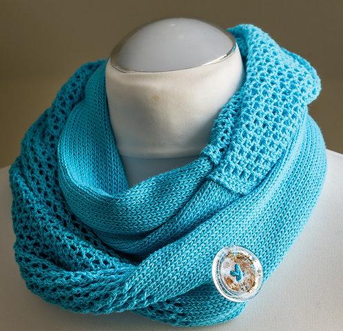 Turquoise Seashore Cotton Infinity Scarf