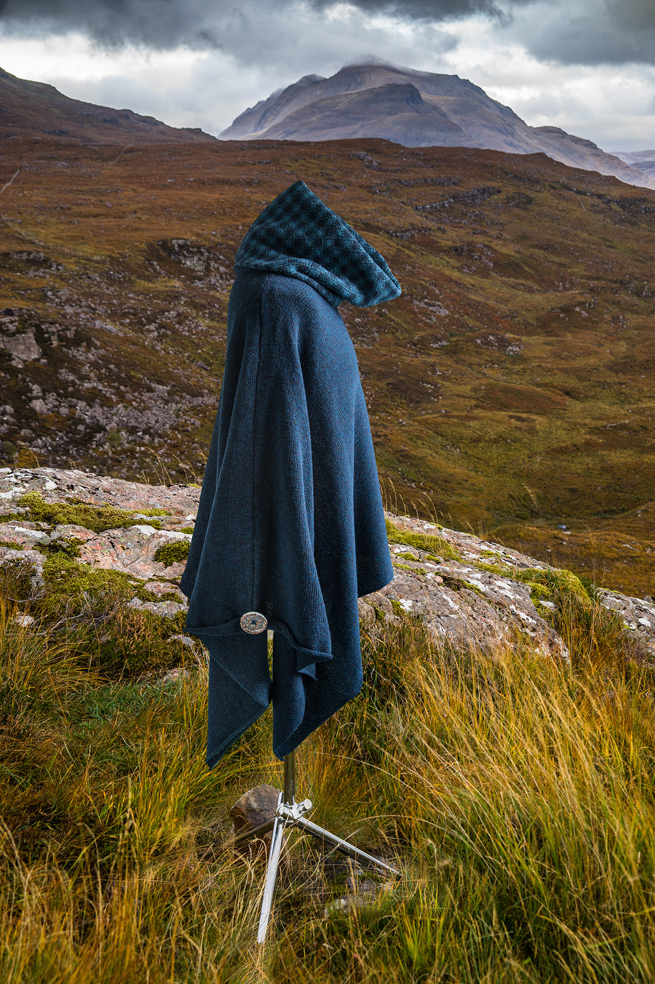 Wool poncho and cowl