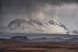 Hail shower over Baosbheinn, Wester Ross.