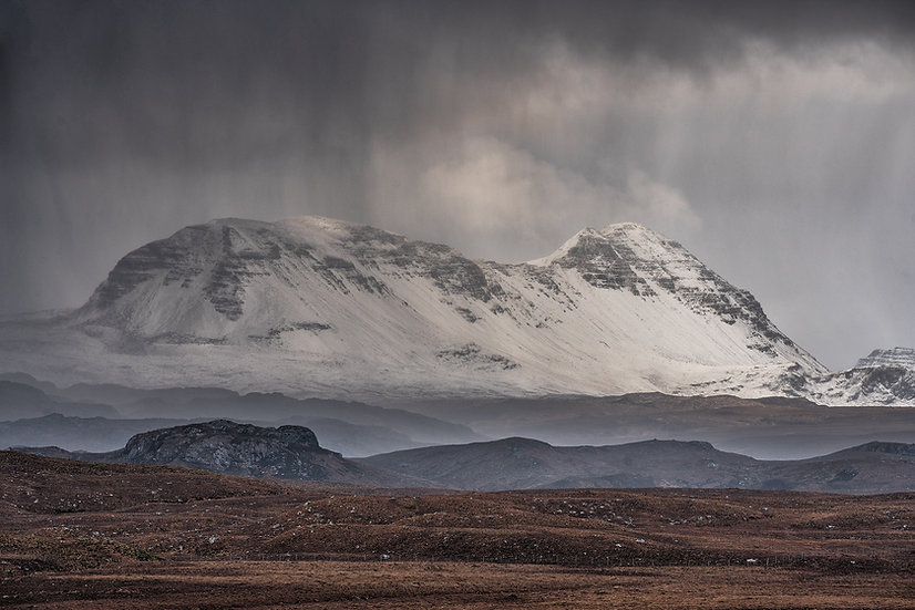 Hail shower over Baosbheinn, Wester Ross.