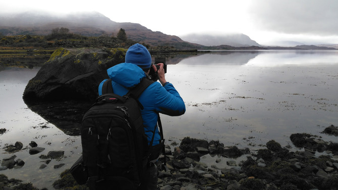 Knitwear photo shoot in Torridon, Scottish Highlands
