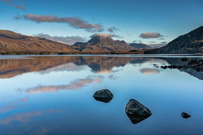 Calm reflections on Loch Maree, looking towards Slioch