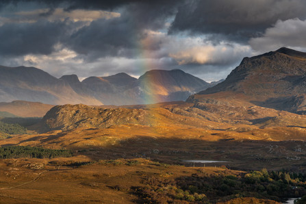 Autumnal colours on the Fishfield mountains and Beinn Airigh Charr in the late afternoon sunlight.
