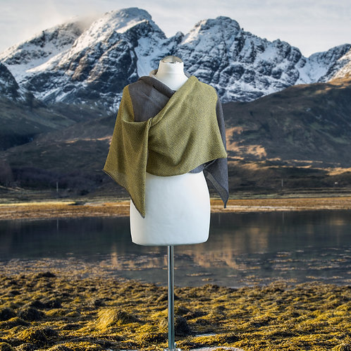 Skye Collection sour lime and grey wrap / pashmina / stole