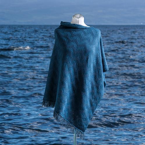 Seashore Merino Textured Women's Poncho - Sea Blue