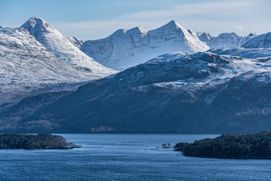 Looking across Loch Maree towards Beinn Eighe and Laithach after a night of heavy snow on the tops.